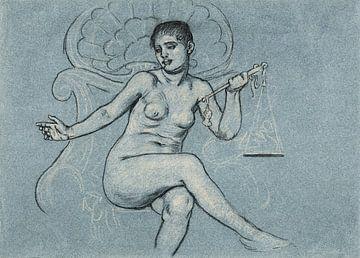 Sinnliches Aktporträt Studie für zentrale Figur in Korrupte Gesetzgebung, Elihu Vedder (1895) von Atelier Liesjes