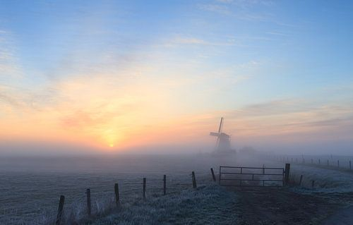 Mistige zonsopkomst bij molen Koningslaagte