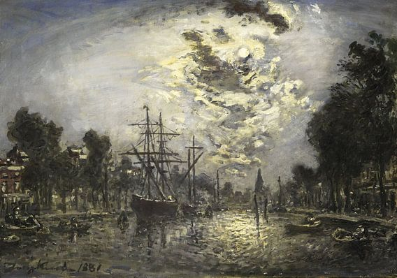 Rotterdam bij maneschijn, Johan Barthold Jongkind
