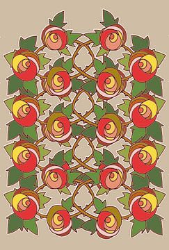 Les Roses dessin 3 sur Marijke Mulder