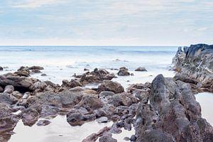 Rocks on the coast of El Golfo, Lanzarote island. Spain.