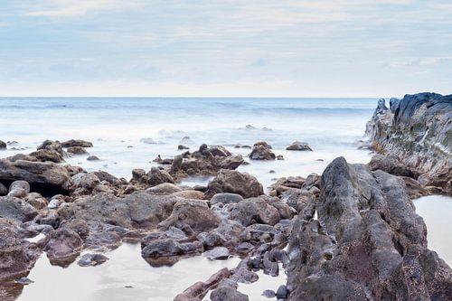 Rocks on the coast of El Golfo, Lanzarote island. Spain. van