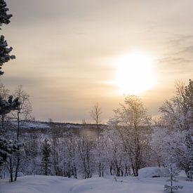 Zonsopkomst in Noorwegen van Maria-Maaike Dijkstra