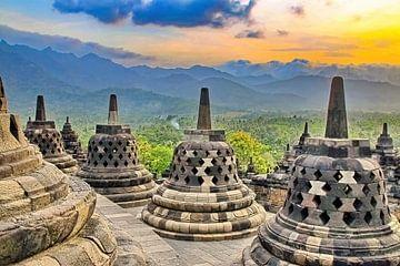 Stupa's met uitzicht van Eduard Lamping