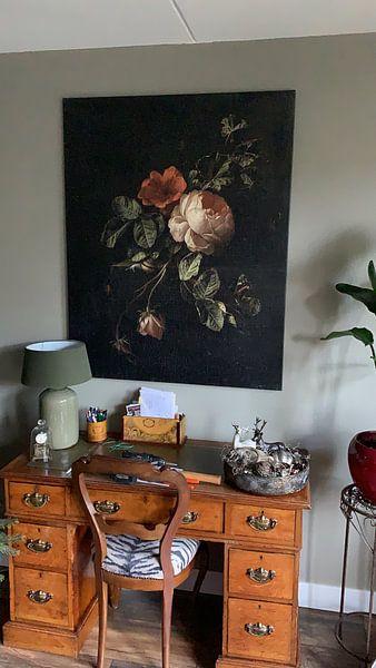 Klantfoto: Stilleven met rozen, Elias van den Broeck van Meesterlijcke Meesters, op canvas