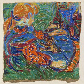 Ernst Kirchner, Zwei Mädchen spielen mit Katzen