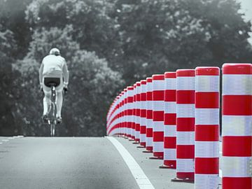 Der einsame Radfahrer von Amsterdam Fotografie (Peter Bartelings)