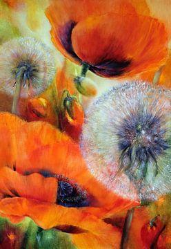 Klaprozen en paardebloemen van Annette Schmucker
