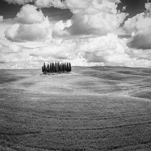 Italië in vierkant zwart wit, Toscane van