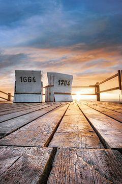 Strandstoelen op het strand van St. Peter Ording in de zomer van Fine Art Fotografie