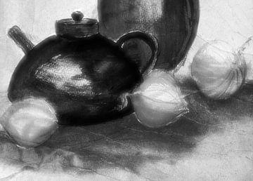 Krüge und Zwiebeln Schwarz Weiß von Claudia Gründler