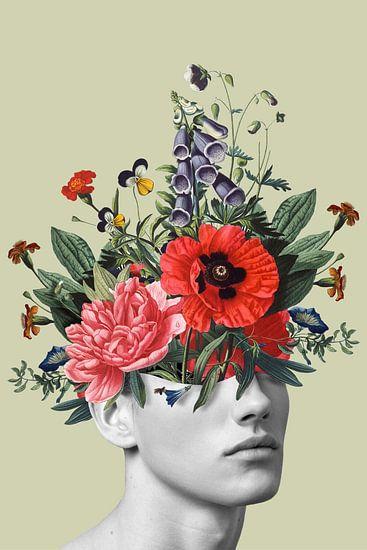 Zelfportret met bloemen 5 (staand)