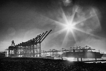 Kranen op de Maasvlakte, Rotterdam in zwart wit van Renske Breur