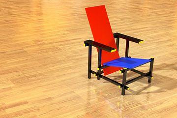 Rietveld Stuhl Parkettboden von Jan Brons