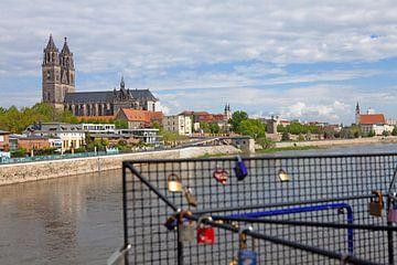 De Dom van Maagdenburg gezien vanaf de hefbrug van t.ART