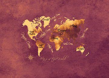 Weltkarte braun gold schwarz #Karte von JBJart Justyna Jaszke