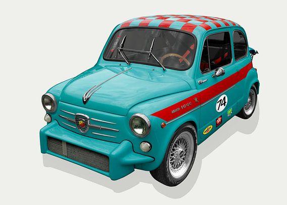 Fiat Abarth 1000 TC in cyaan
