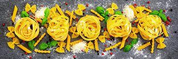 Variatie van verschillende soorten pasta van Uwe Merkel