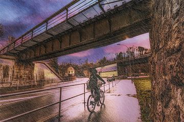 Fahrradfahren im Regen von Johnny Flash