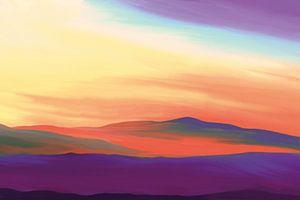 Vredig landschap bij zonsopkomst in surreale kleuren van Tanja Udelhofen