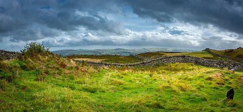 R.I.P. Rust in vrede, heuvellandschap met grafsteen, Wales