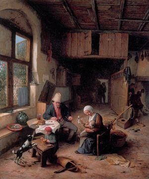 The Interior of a Peasant's Cottage, Adriaen van Ostade