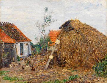Paul Baum.Bauernhof mit Heuhaufen
