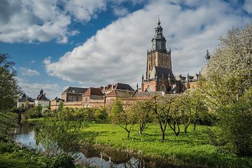 Walburgiskerk en stadsmuur in Zutphen