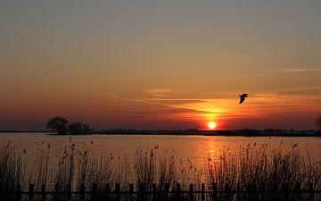 Zonsondergang Snekermeer van Wim Popken