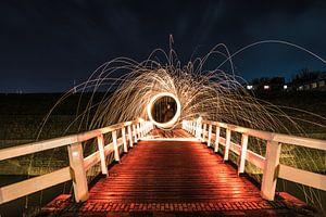 lightpainten op de ravelijn brug van