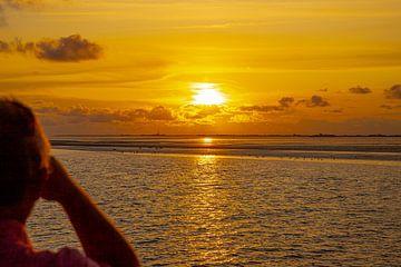 Zonsondergang in de Waddenzee voor de Pellworm van Alexander Wolff