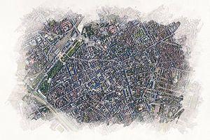 Karte von Nimes aus der Luft von Aquarel Creative Design