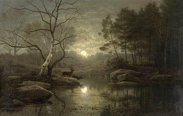 Waldlandschaft bei Mondlicht, Georg Eduard Otto Hall