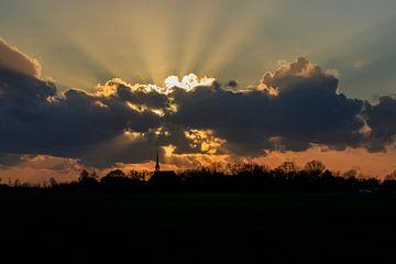 Skyline Niehove in Sunrays van Wil de Boer