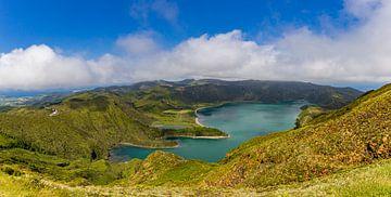 Panorama van Lagoa do Fogo (Azoren) van