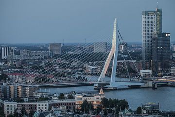Erasmusbrug Rotterdam in de avond sur John Ouwens