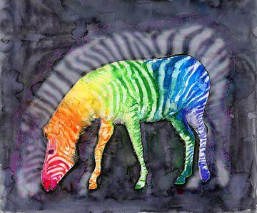 Zebra in regenboogkleuren van Bianca Wisseloo