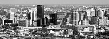 Luftbild -Panorama-Center Rotterdam schwarz / weiß von Anton de Zeeuw