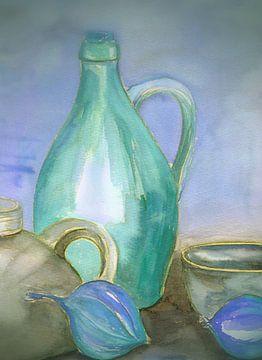 aardewerken kruiken blauwgroen - Stillebeb van Claudia Gründler