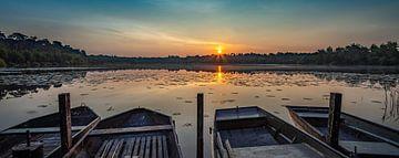 Bateaux à rames à l'étang sur Paul Lagendijk