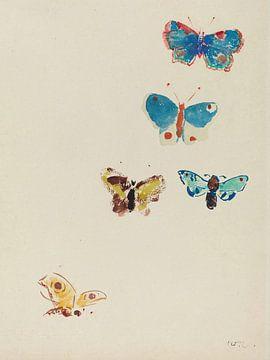 Odilon Redon Fünf Schmetterlinge.