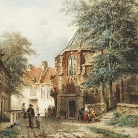 Schilderij Asperen - Mensen in de dorpsstraat van Asperen - Cornelis Springer van Schilderijen Nu