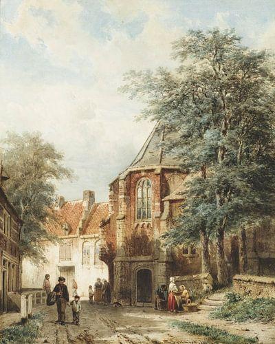 Schilderij Asperen - Mensen in de dorpsstraat van Asperen - Cornelis Springer van