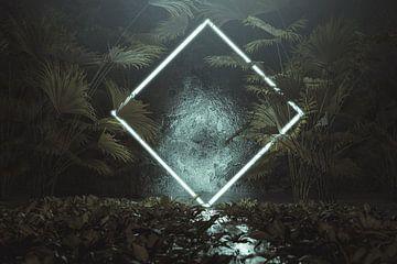 Gedrehtes Neon Viereck umgeben von tropischen Pflanzen von Besa Art