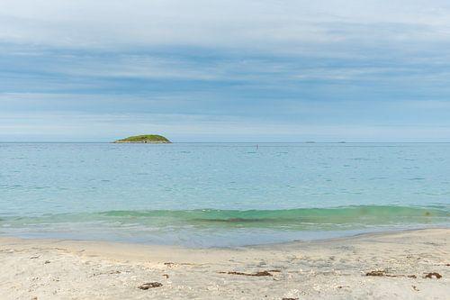 Witte stranden Senja Noorwegen van