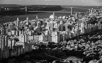 Central Park und der Hudson River in Schwarz und Weiß