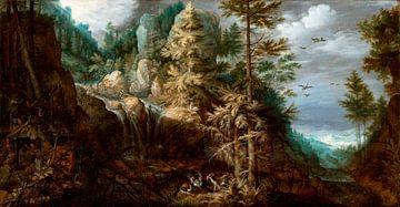 Landschap met de verleiding van de heilige Antonius, Roelant Savery