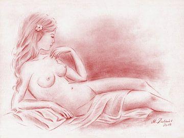 Naakt met een doek - Erotische Tekeningen van Marita Zacharias