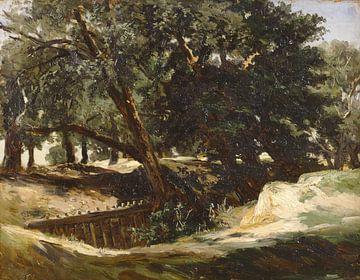 Carlos de Haes-Bergbos landschap, eikenbomen, Antiek landschap