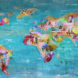 World Art Map Bleu von Paint- Ing